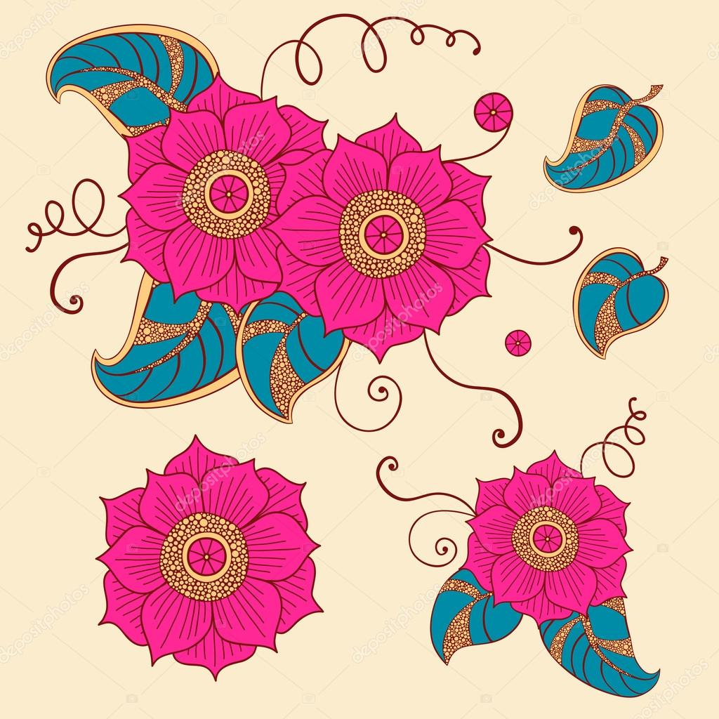 Floral set in vector. Bright flowers in ethnic style