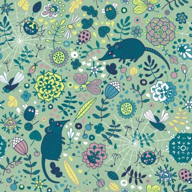Life in the meadow. Seamless pattern with flowers, leaves, grass