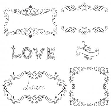 Set of calligraphic design elements. Vector illustration. stock vector