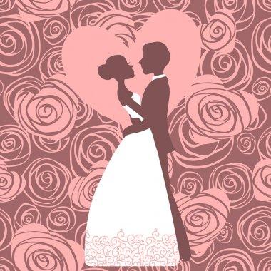 Wedding invitation. Silhouette of bride and groom