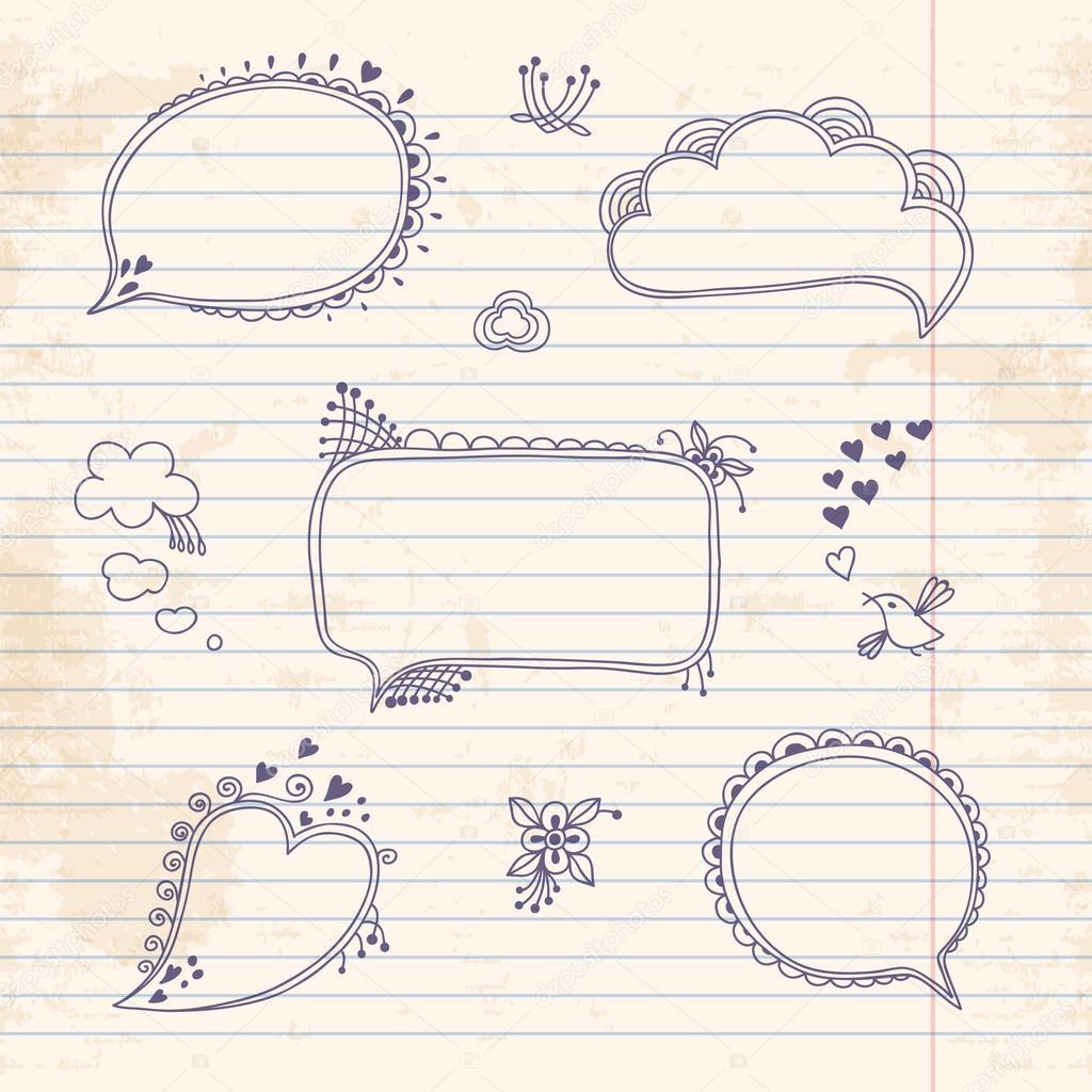 dibujo las nubes para notas en la hoja de cuaderno de la mano ...
