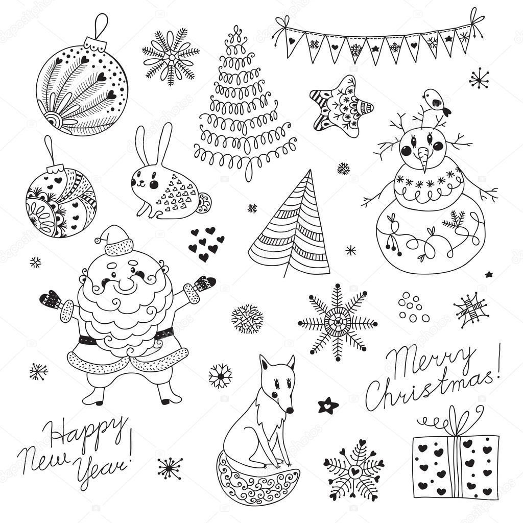 un conjunto de elementos de Navidad para el diseño. Santa claus ...