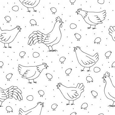 Seamless pattern with chickens, roosters and chickens
