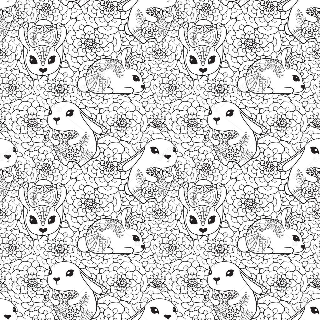 vendimia de patrones sin fisuras con conejitos y flores — Archivo ...