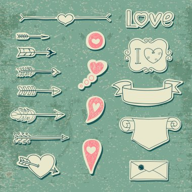 Set Wedding and Valentine's Day design elements.