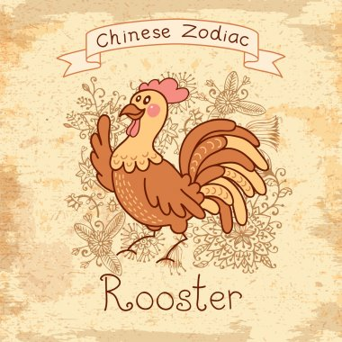 Vintage card with Chinese zodiac - Rooster
