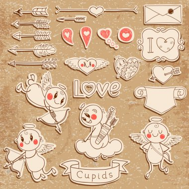 Cupids, arrows, hearts and other vintage elements