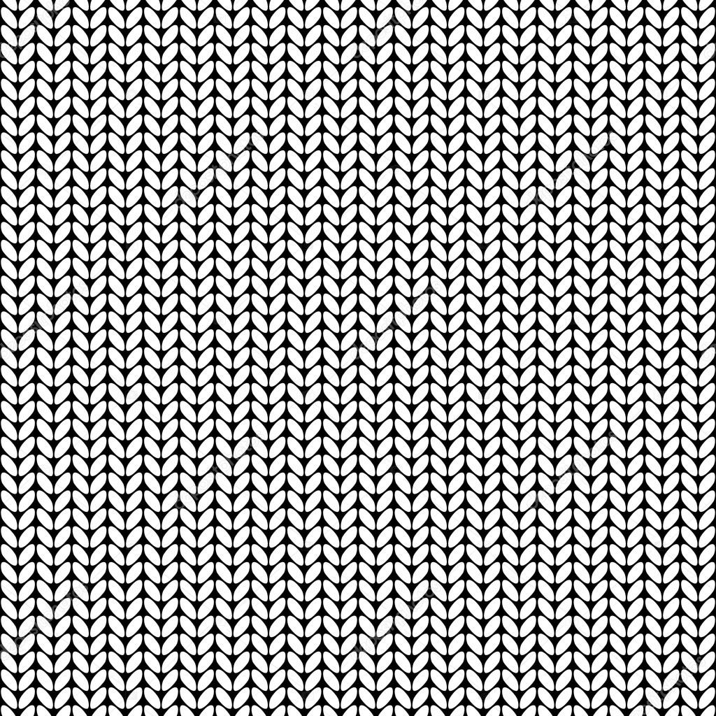 Knitting Texture Drawing : Illustration seamless knitted pattern stock vector