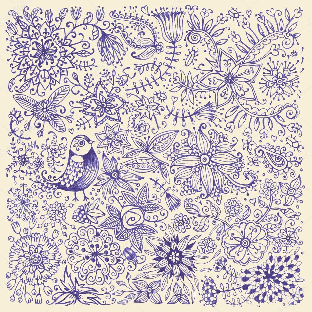 Hand drawn flowers and birds