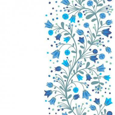 Seamless border of flowering branches. Vector illustration. stock vector