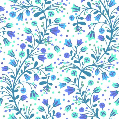 Seamless pattern of flowering branches. Vector illustration. stock vector