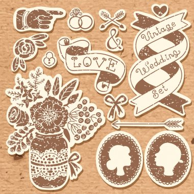 Wedding set of vintage design elements.