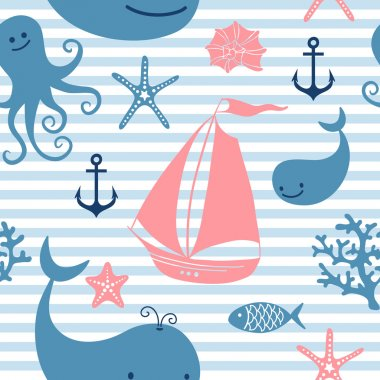 Seamless pattern with cute whales, sailing.