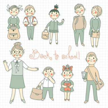 The teacher with the students. Back to school.