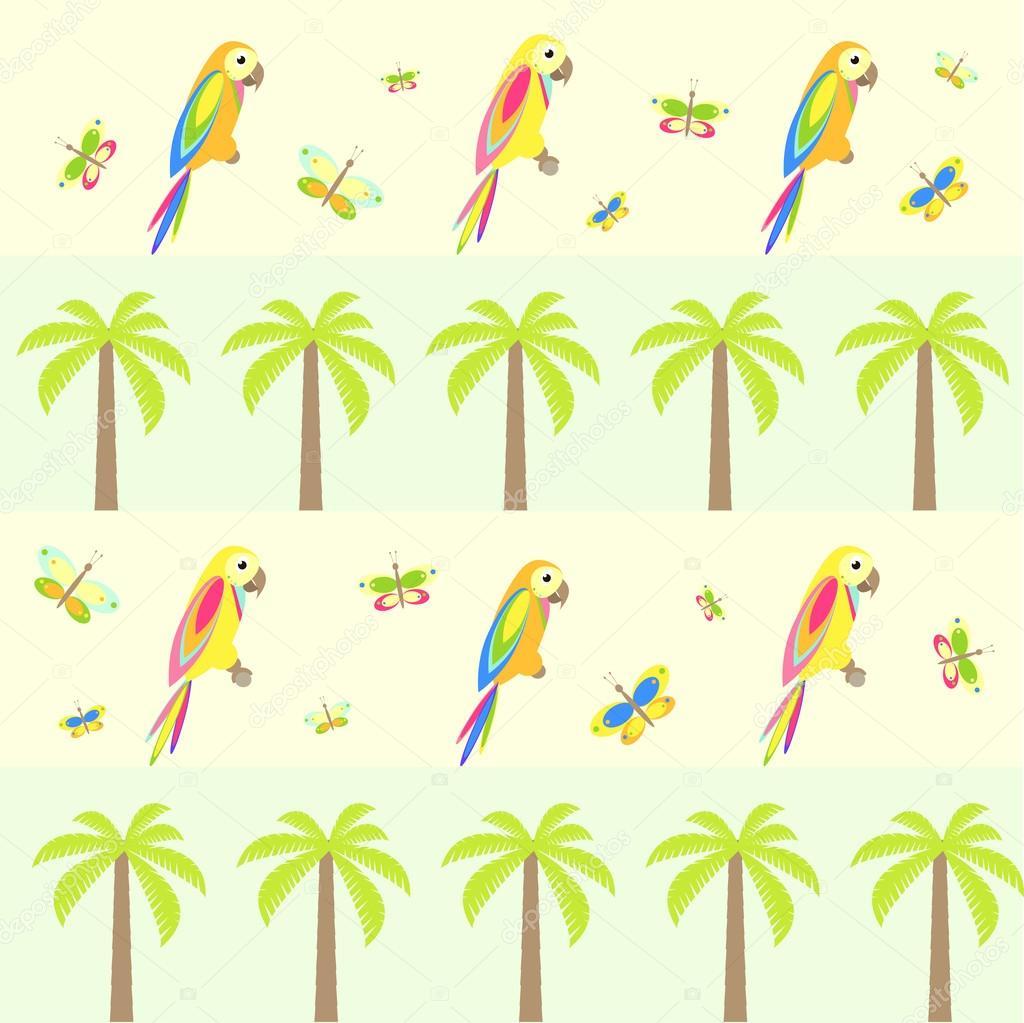 Картинка попугай на пальме рисунок