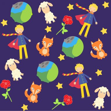 Seamless background with The little prince characters stock vector
