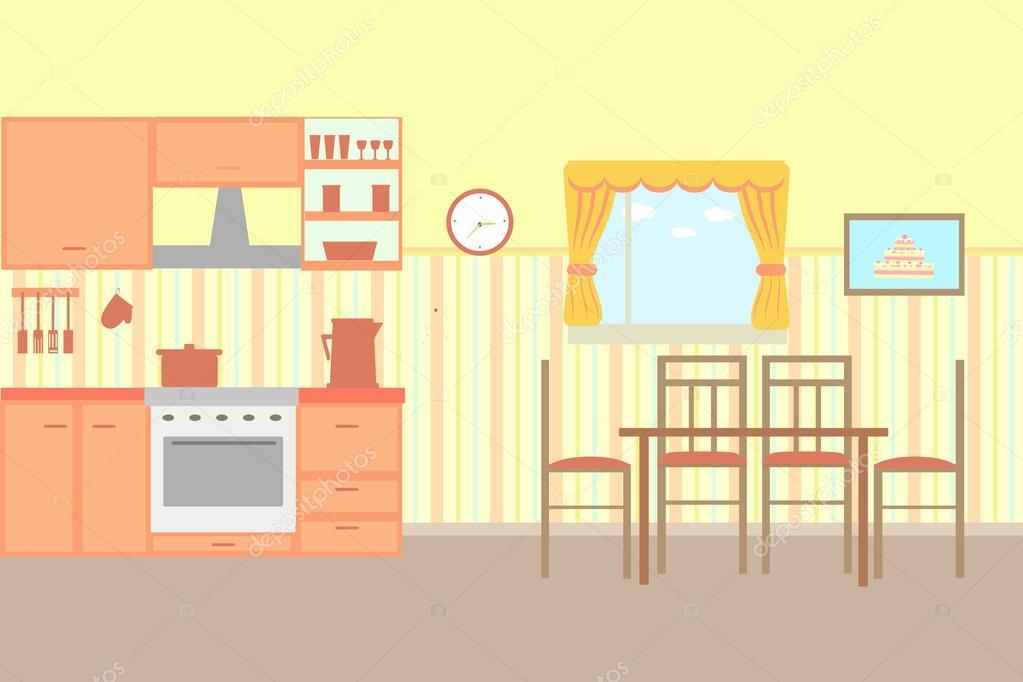 Ilustración de cocina con muebles de cocina — Vector de stock ...