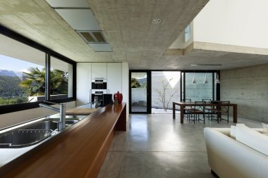 interior modern house, kitchen and dining room