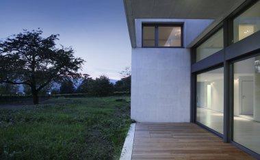 Detail of modren house in the evening stock vector