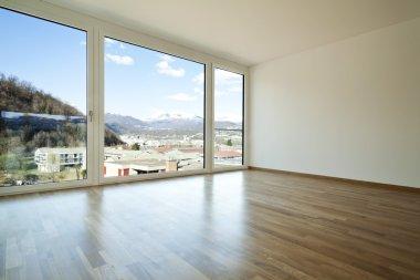 Interior, empty new apartment, windows