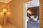 interiérové luxusní byt, výhled z obývacího pokoje od dveří