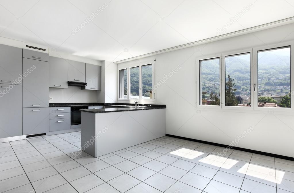 Blick Von Der Küche Eine Neue Wohnung, Grau Möbel U2014 Foto Von Zveiger