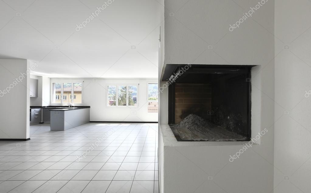 Neue Wohnung Leerer Raum Mit Weissen Fliesen Boden Stockfoto