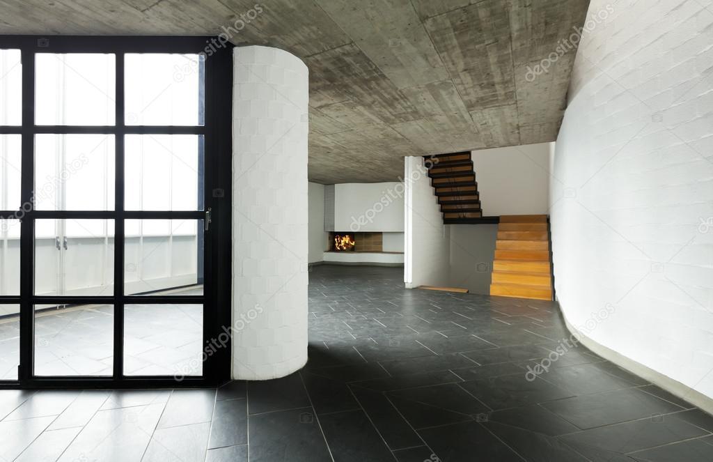 Moderne fenster innen  moderne leere Villa, großes Fenster — Stockfoto #34122123