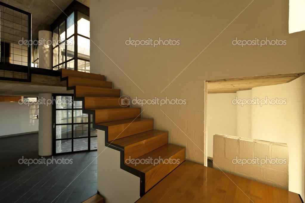 Interieur Moderne Villa Houten Trap Stockfoto Zveiger