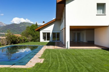 house and pool, exterior, summer day