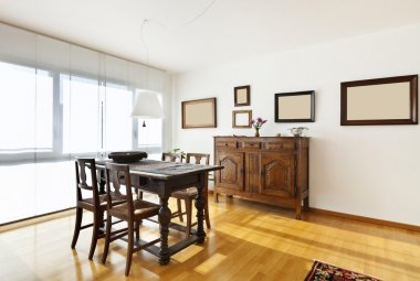 Apartment interior, ethnic furniture