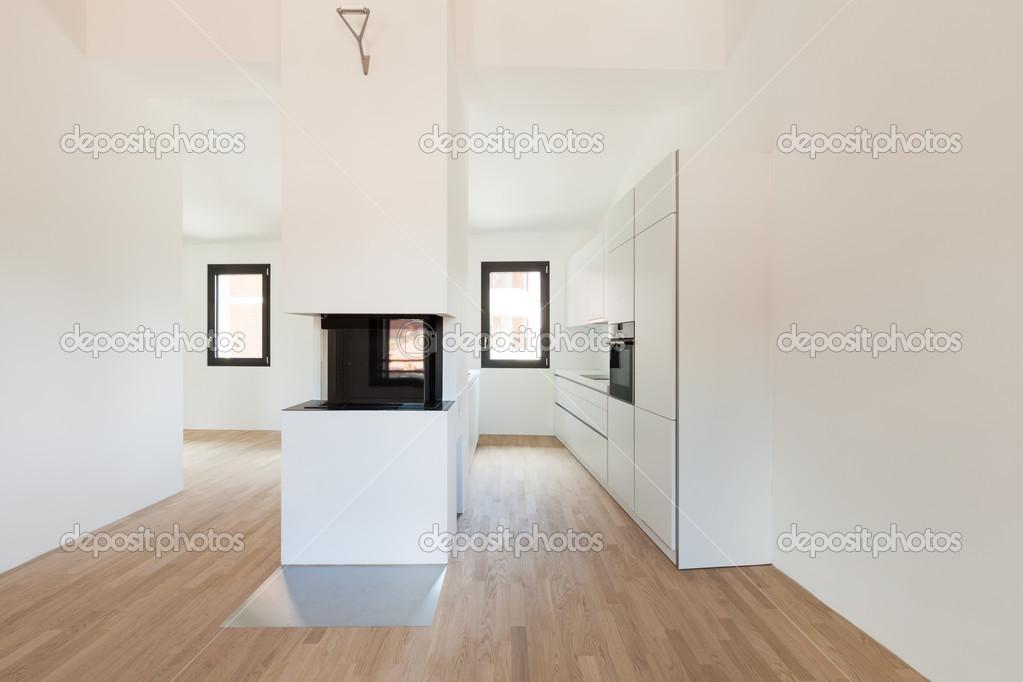 Cucina moderna con camino — Foto Stock © Zveiger #43283213