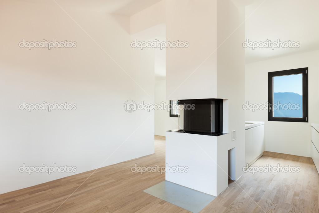 cucina moderna con camino — Foto Stock © Zveiger #43283225