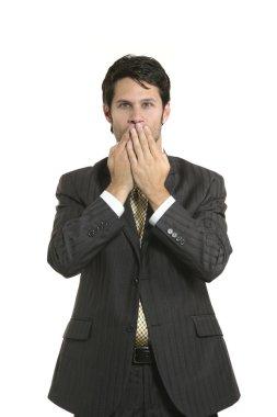 Businessman   keeps silent