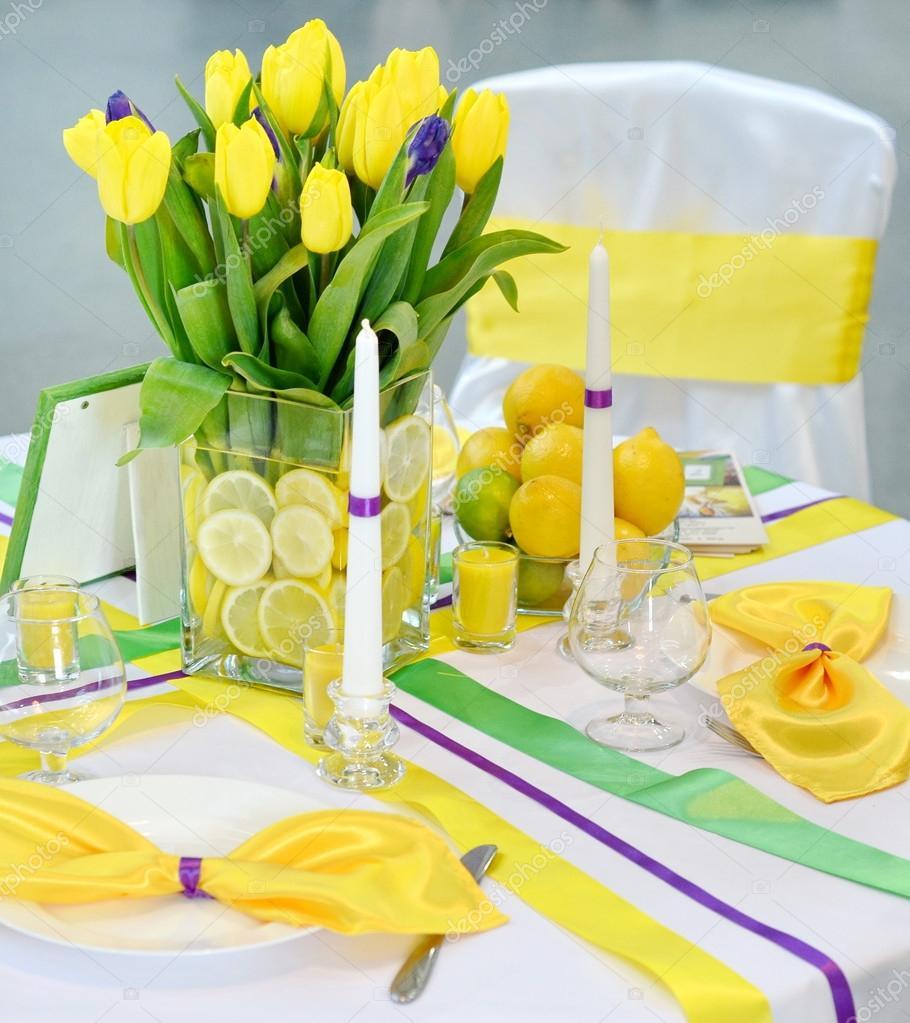 Zlute Tulipany Dekorace Pro Svatbu Stock Fotografie C Vivairina