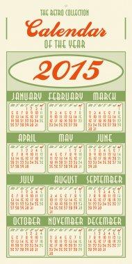 Calendar for year 2015, retro style 1950s USA