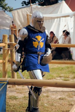 Medieval knights fighting