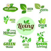 Collection of six green eco icons