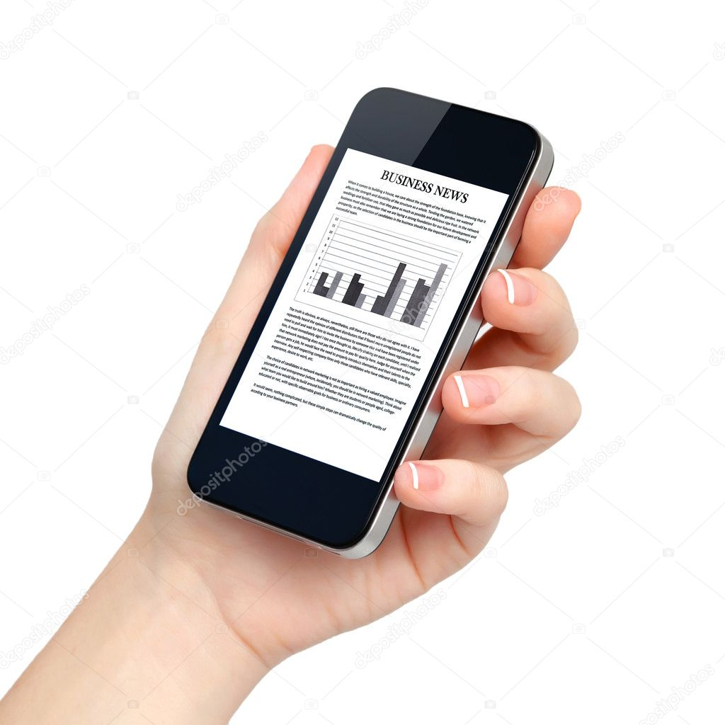 isolated female hand holds the phone with business news on scree