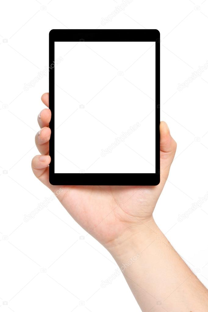 isolated man hand holding a tablet with isolated screen