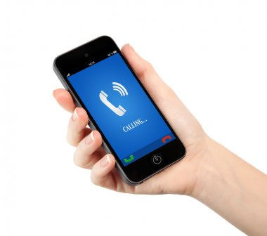 isolated woman hand holding phone with blue screen and the phone