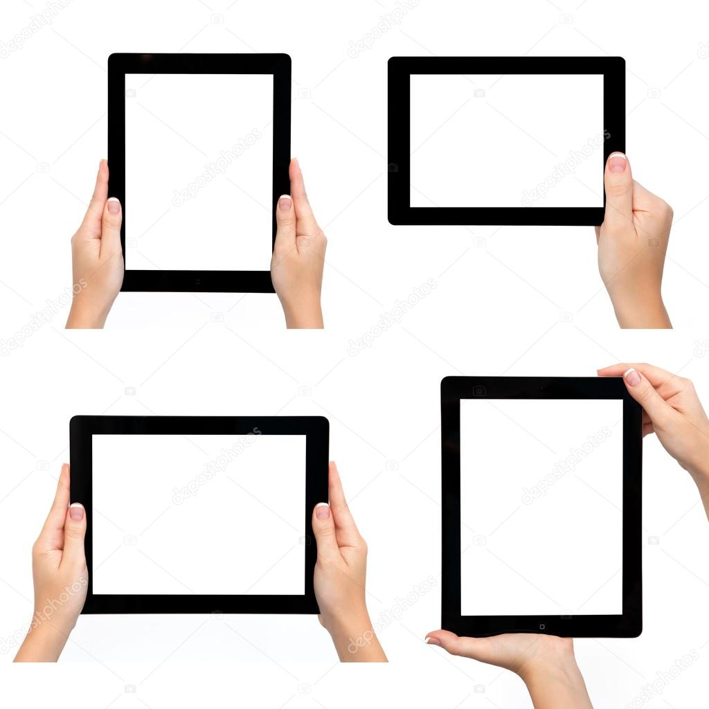 Isolated female hand holding tablet in different ways