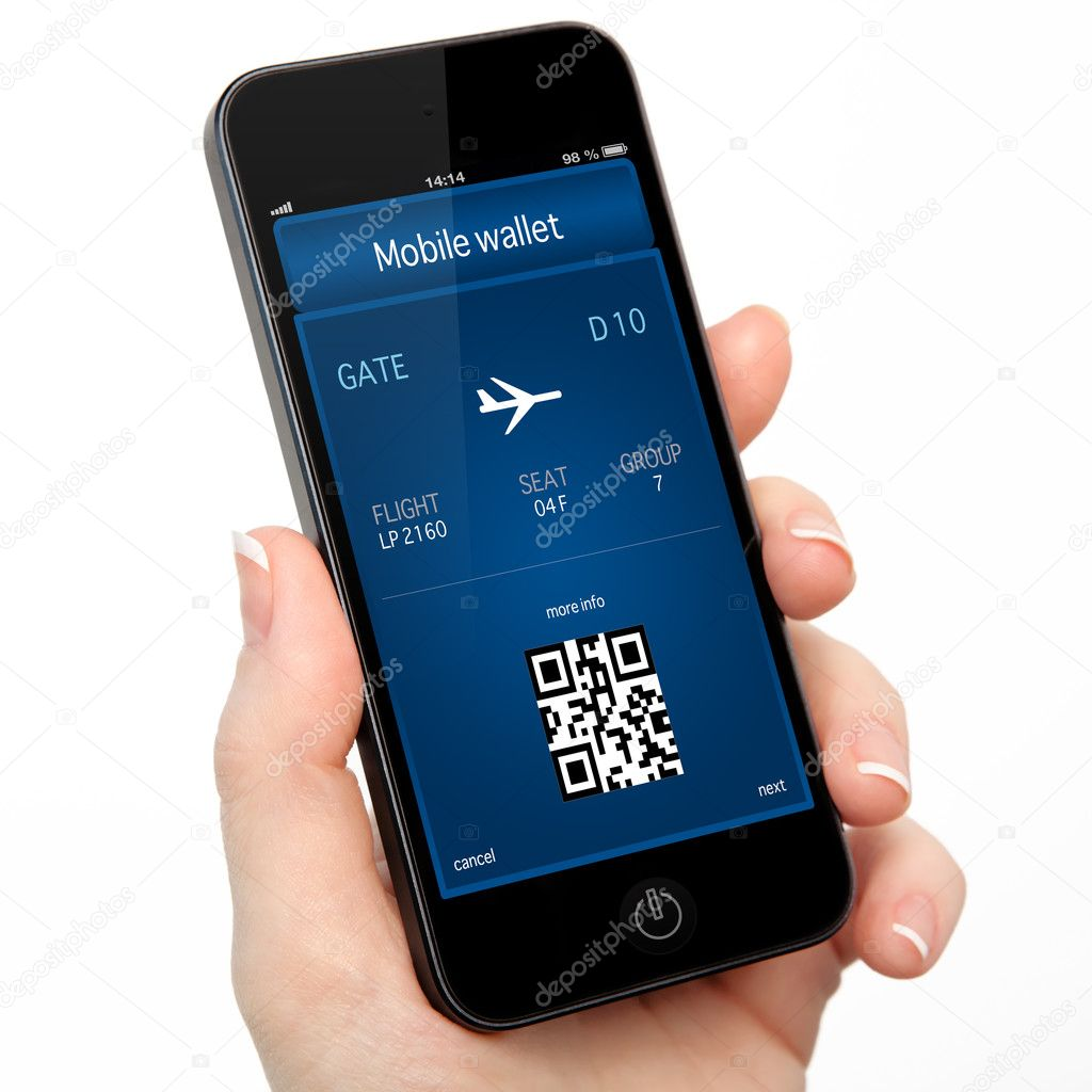 isolated woman hand holding the phone with a mobile wallet and p