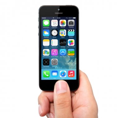 New operating system IOS 7 screen on iPhone 5 Apple