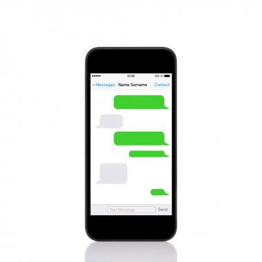 mobile touch phone with sms chat on a screen