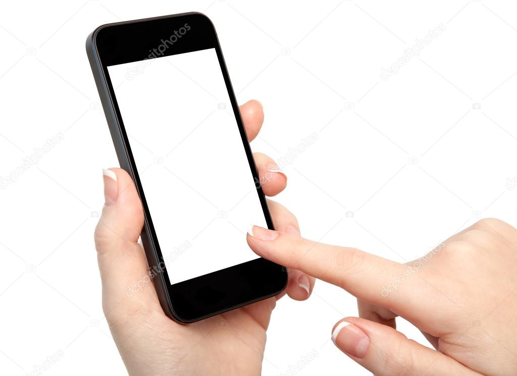 woman hand holding the phone with isolated screen