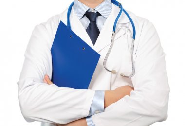 The doctor in a white coat with a stethoscope holding a blue fol