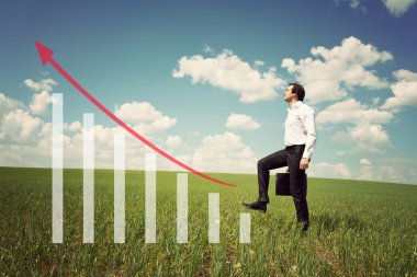 businessman in the field rises on the chart with red arrow up