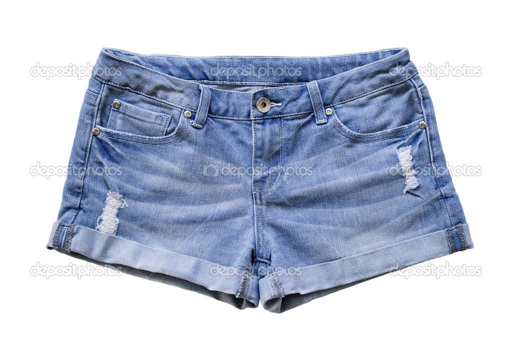 ab3994329 Pantalones cortos de jean azul sobre fondo blanco - imágenes  chores de  bluyin — Foto de ...