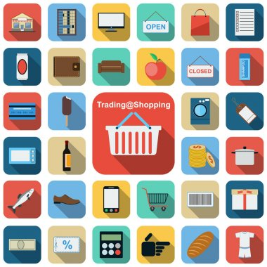 Trading and shopping flat vector icons